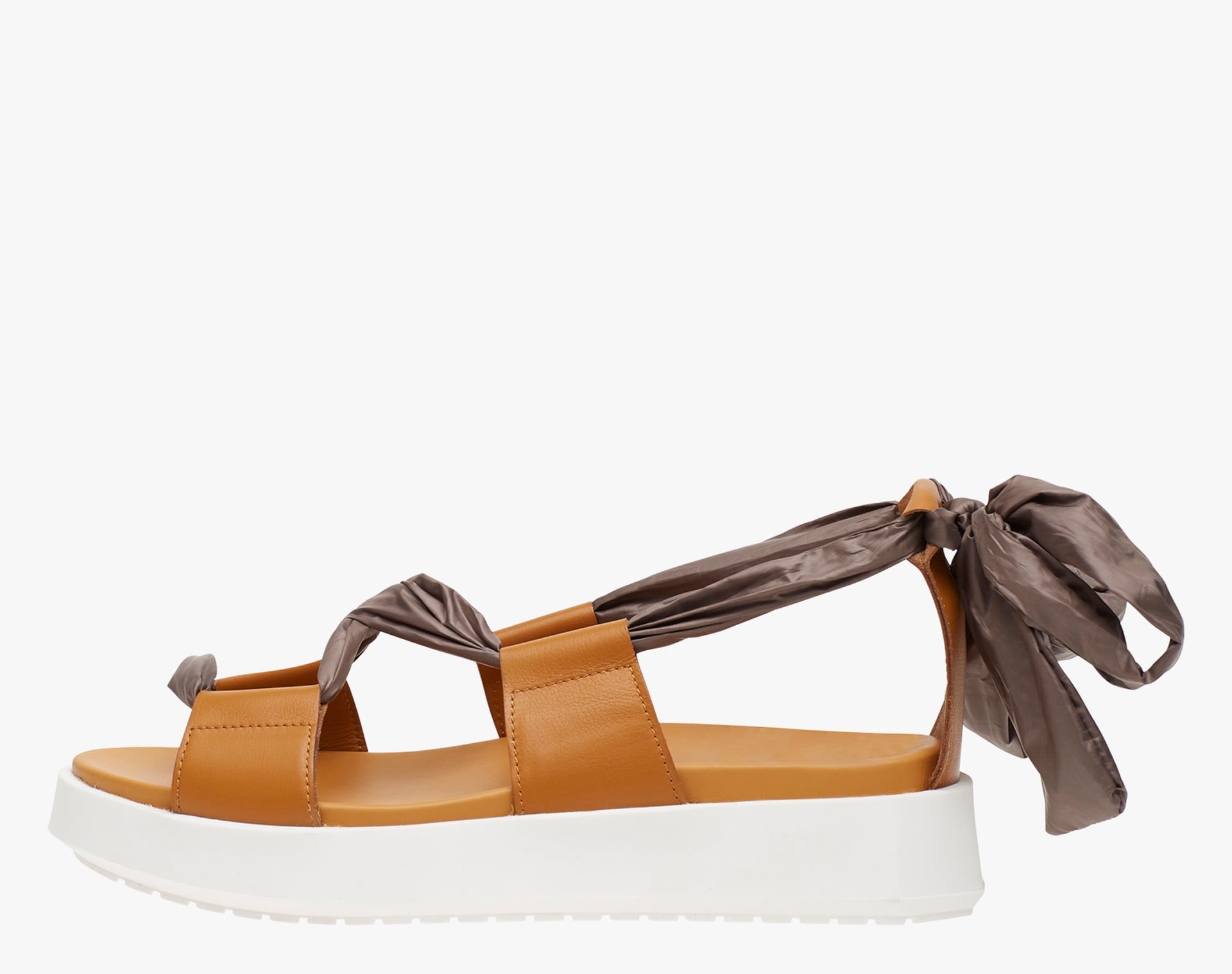 ARIA - Leather sandals with fabric string  - Brown