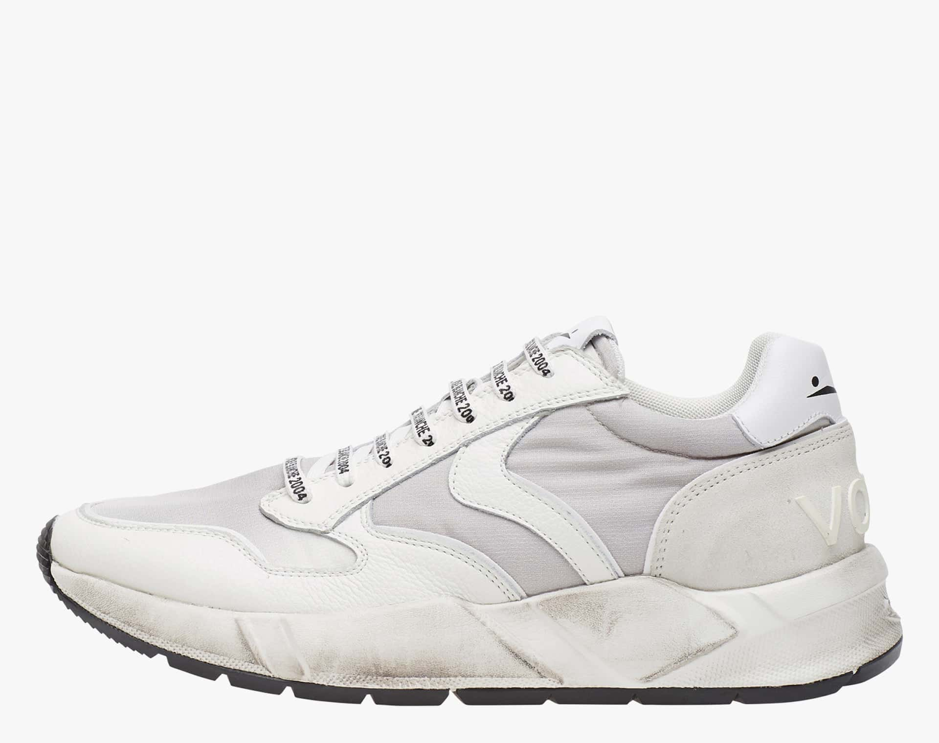 ARPOLH - Dirty effect leather and nylon fabric sneakers - White