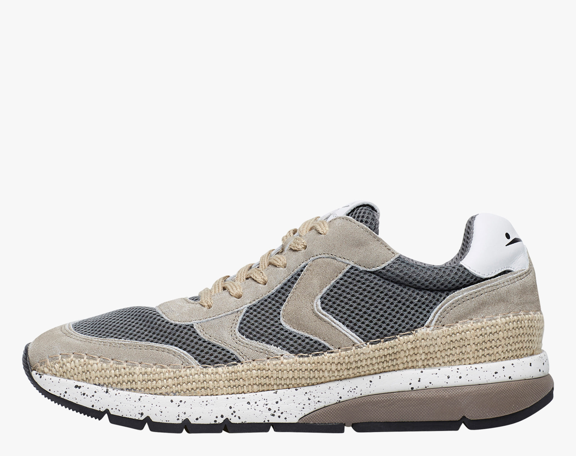DAVE - Suede and jute sneakers - Grey