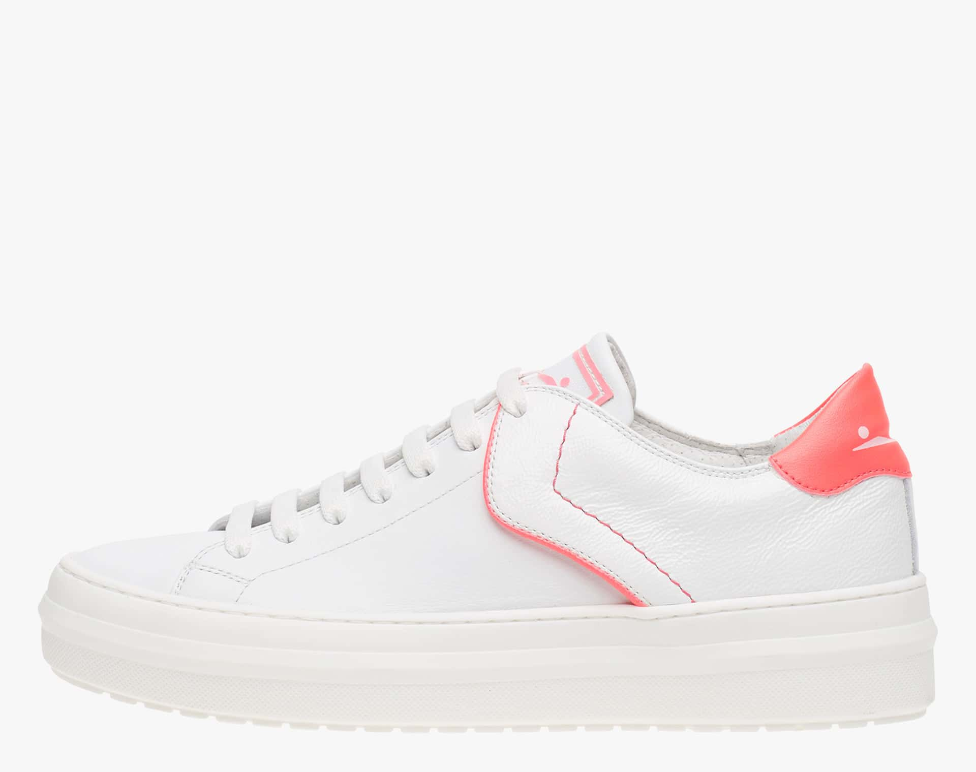 DEMI - Sneakers with fluo colour details - White/Fluo pink