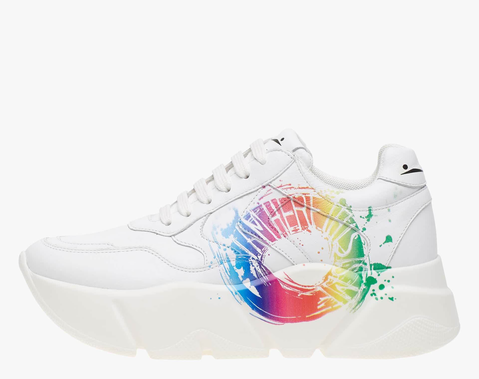 MONSTER PRINT - Calfskin sneakers with contrasting print - White