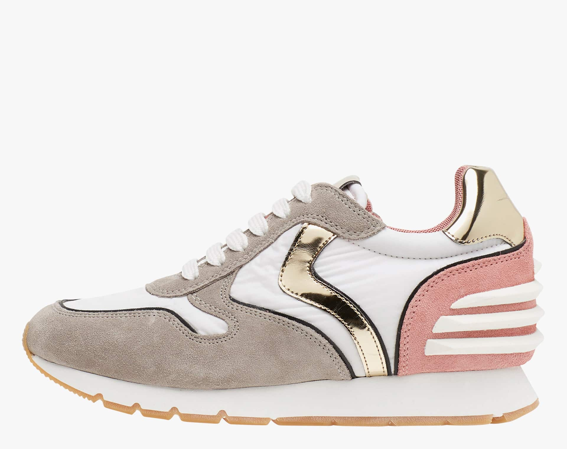 JULIA SLAM POWER - Suede and nuanced technical fabric sneakers - Dove grey
