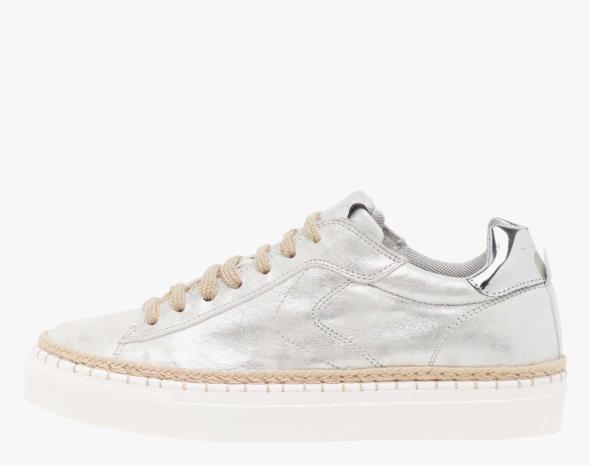 PANAREA - Laminated leather sneakers with jute details - Silver