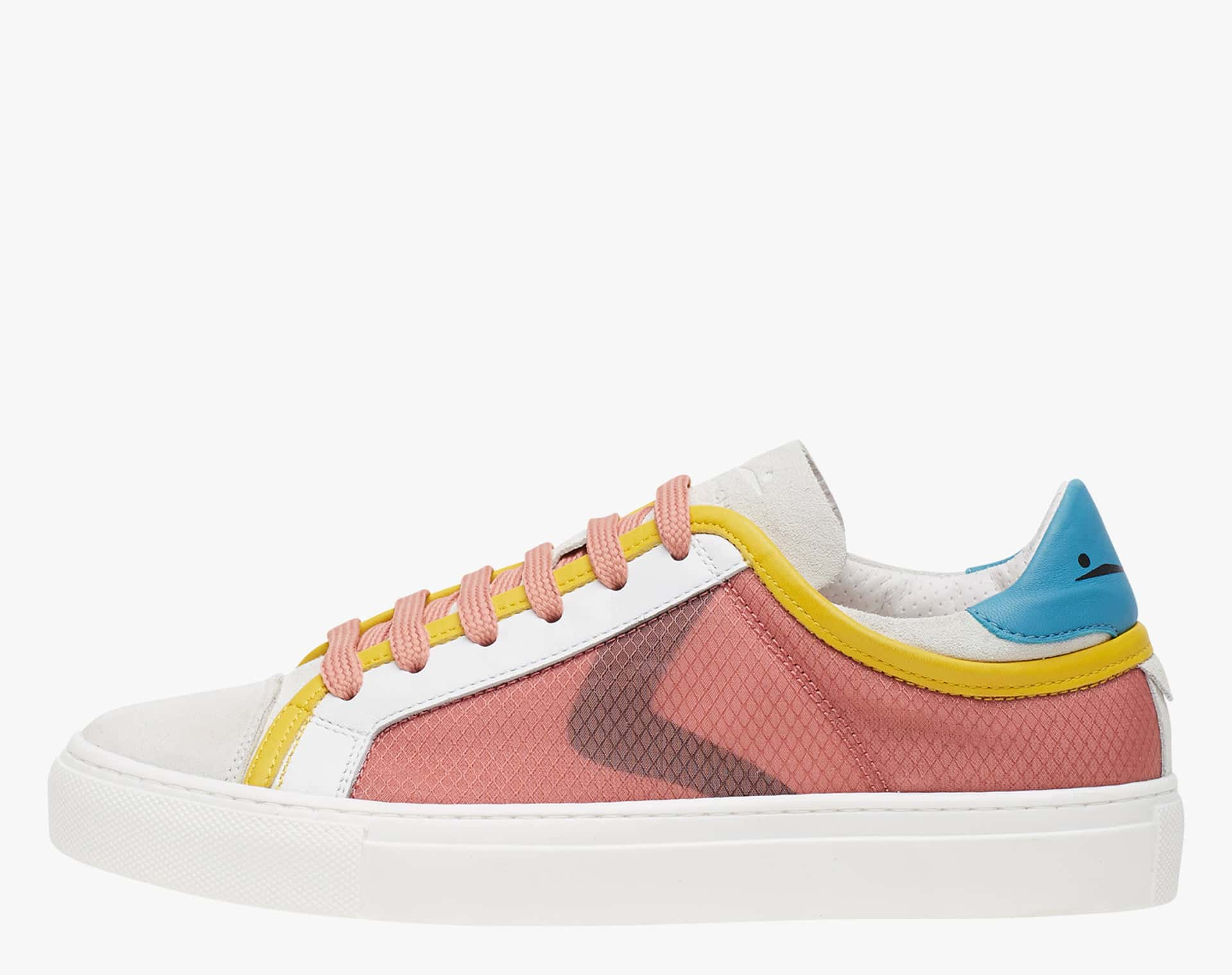 FIT MESH - Suede and doubled mesh sneakers  - White/Pink/Turquoise