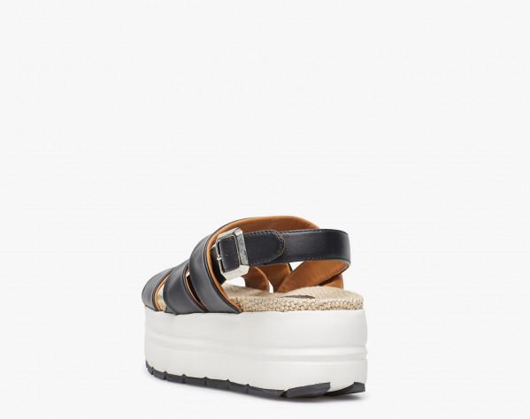 Sandalo in vitello con soletto in rafia Nero-SONI EASY