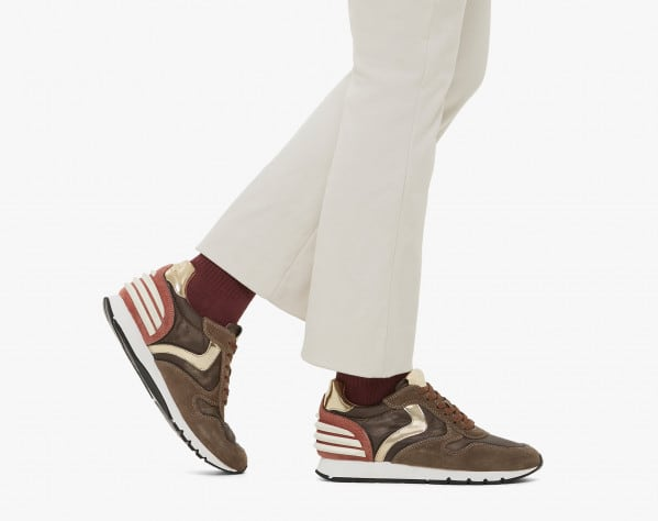 JULIA POWER - Sneaker in pelle e tessuto tecnico - MARRONE/ROSA
