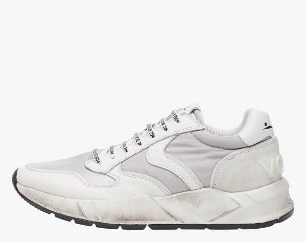 ARPOLH - Sneaker in pelle e nylon effetto dirty - Bianco