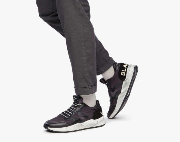 ARPOLH - Sneaker in pelle e nylon effetto dirty - Nero