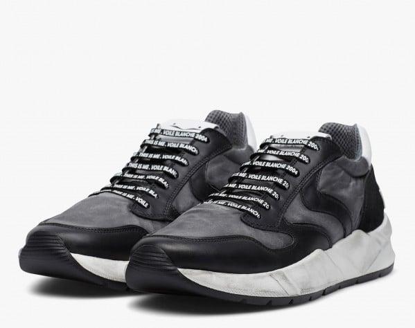 ARPOLH - Sneaker in pelle e nylon effetto dirty - Nero/Antracite