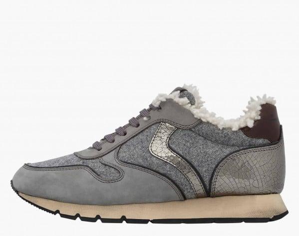 JULIA FUR - Sneaker foderata in shearling - Grigio