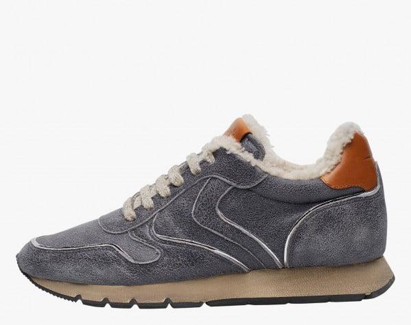 JULIA FUR - Sneaker in pelle con piping argento - Grigio