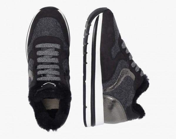 MARAN FUR - Sneaker foderata in shearling - Nero/Grigio
