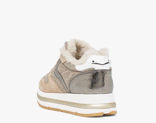 MARAN FUR - Sneaker foderata in shearling - Beige/Grigio