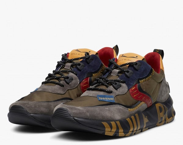 CLUB01 - Sneaker in suede e tessuto camouflage - Antracite