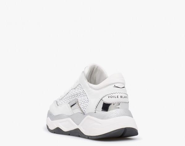 Sneaker in pelle traforata con dettagli a specchio Bianco-MELODY MESH