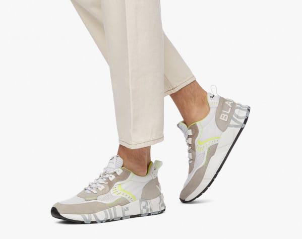 Sneaker in suede e tessuto tecnico Bianco-CLUB01