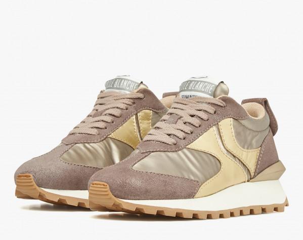 QWARK WOMAN - Sneaker in tessuto laminato e suede - Grigio/Platino
