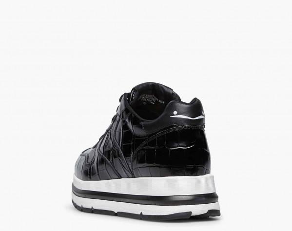 MARAN - Sneaker in vitello stampa coccodrillo - Nero
