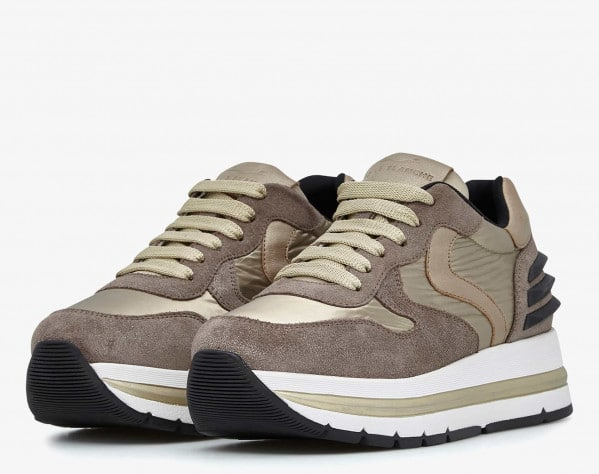 MARAN POWER - Sneaker in suede e tessuto laminato - Platino