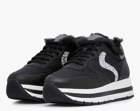 MARAN FUR - Sneaker in vitello con inserto lapin - Nero/Argento