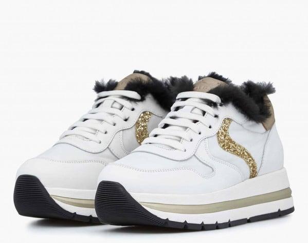 MARAN FUR - Sneaker in vitello con inserto lapin - Bianco