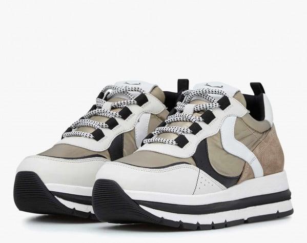 MARPLE - Sneaker in tessuto laminato e vitello - Ghiaccio/Platino