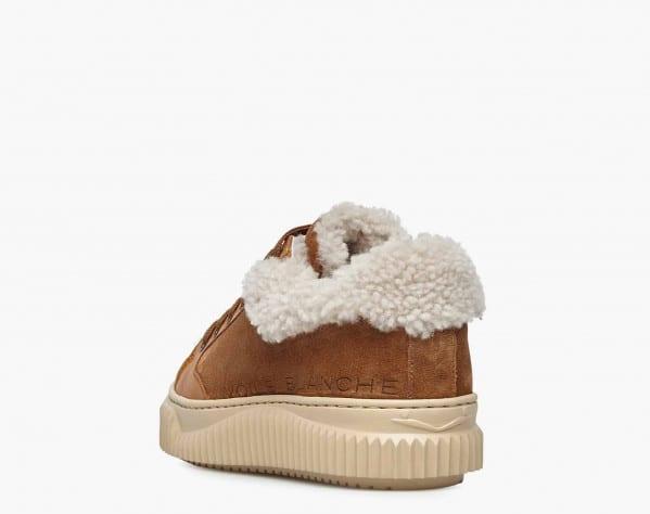 JENNY 02 - Sneaker in suede con shearling naturale - Marrone