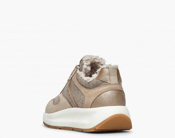 FLOWEE FUR - Sneaker in nabuk e feltro con fodera in shearling - Beige/Platino