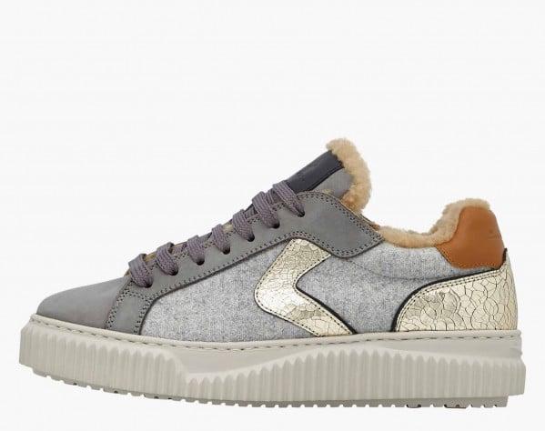LIPARI FUR - Sneaker in nabuk e feltro con fodera in shearling - Grigio