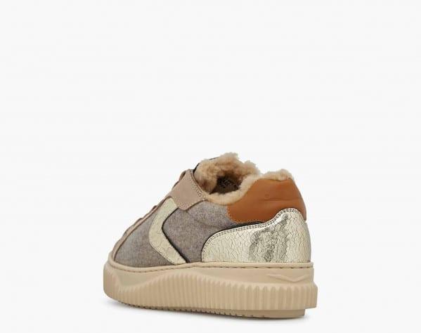 LIPARI FUR - Sneaker in nabuk e feltro con fodera in shearling - Beige
