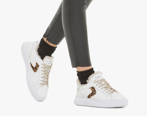 LIPARI FUR - Sneaker in vitello con dettaglio in cavallino e fodera in shearling - Bianco