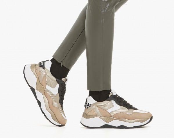 BEA 02 - Sneaker in tessuto e nabuk con glitter - Platino
