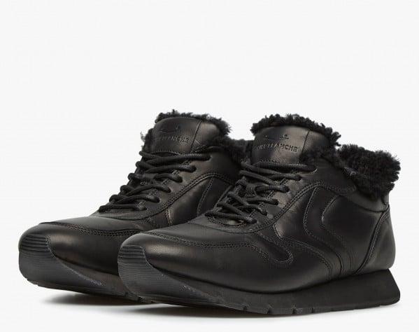 LIAM PUMP FUR - Sneaker in vitello con interno in shearling - Nero