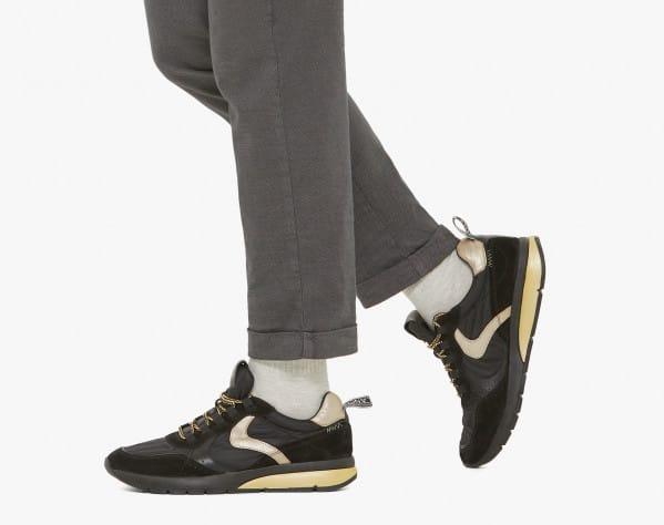 NEW ARGO II - Sneaker in tessuto e suede con bubble cushion - Nero/Platino