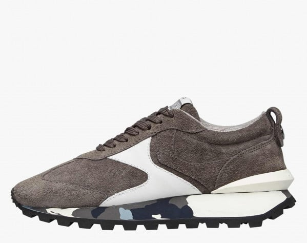 QWARK MAN - Sneaker in suede con suola camouflage - Grigio