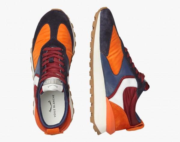 QWARK MAN - Sneaker in tessuto tecnico e suede - Navy/Arancione