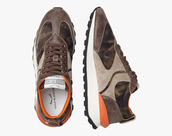 QWARK MAN - Sneaker in tessuto tecnico camouflage e suede vintage - Grigio