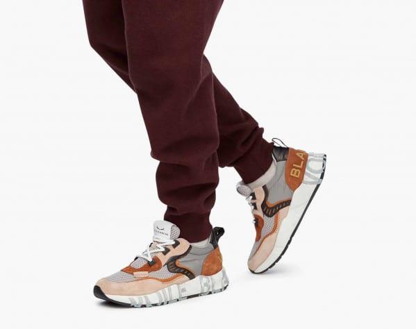 CLUB01. - Sneaker in suede e mesh - Beige