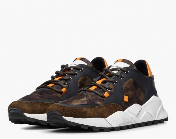 GOLTAX - Sneaker in suede e tessuto camouflage - Militare