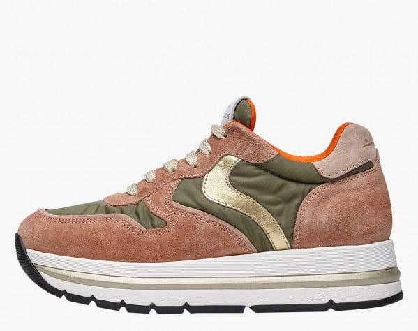 MARAN PLUS - Sneaker in tessuto tecnico e suede - Rosa-Militare