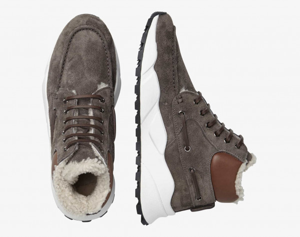 EXTREEMER HIGH FUR - Sneaker sailor alte con fodera in shearling naturale - Antracite