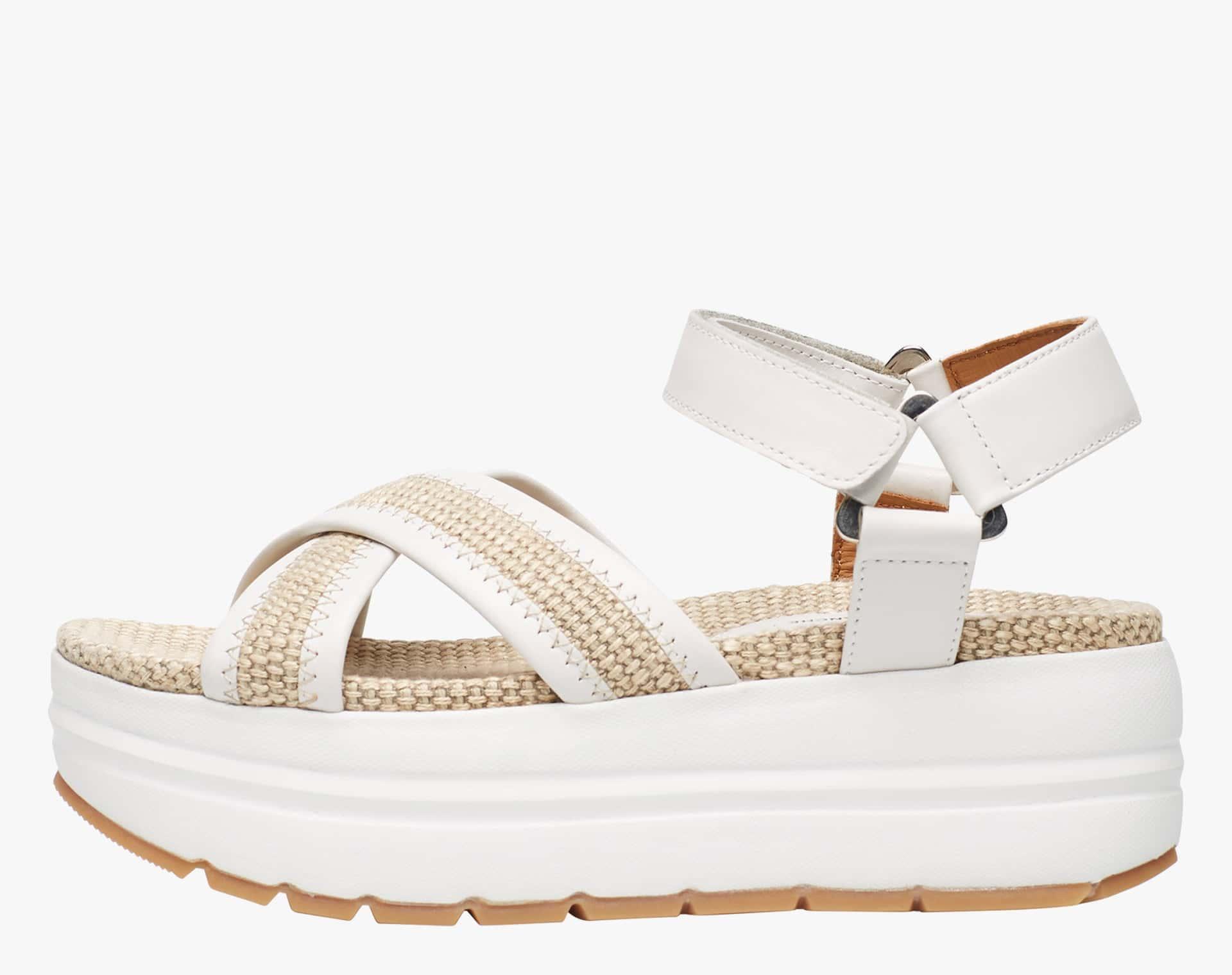 Sandalo in rafia e pelle con suola chunky Bianco-SELENA