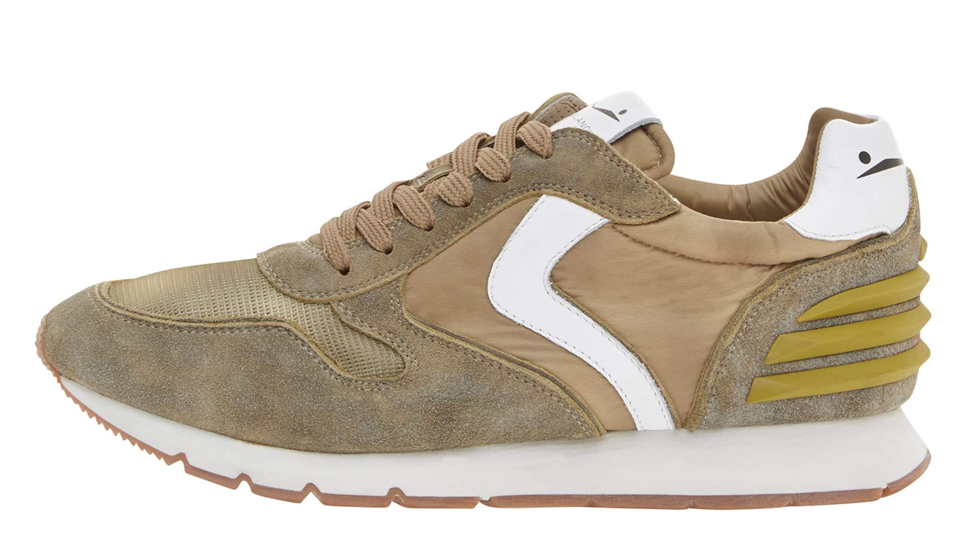 LIAM POWER - SNEAKERS IN PELLE  E NYLON - MILITARE/DAINO