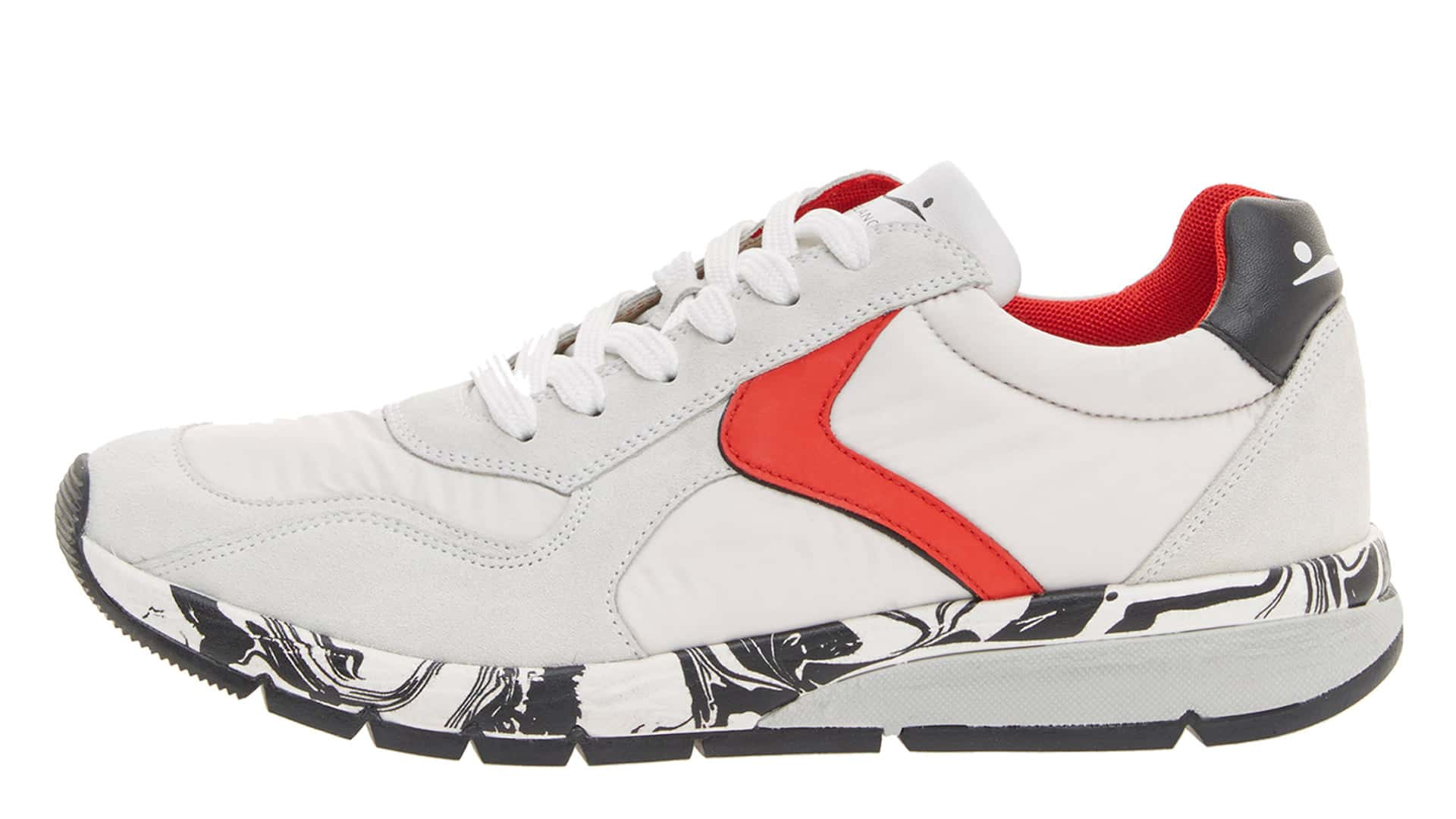 LENNY - SNEAKERS IN PELLE - BIANCO/ROSSO