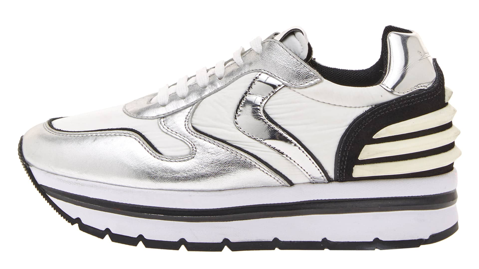 MAY POWER - SNEAKERS IN PELLE E TESSUTO - ARGENTO/NERO
