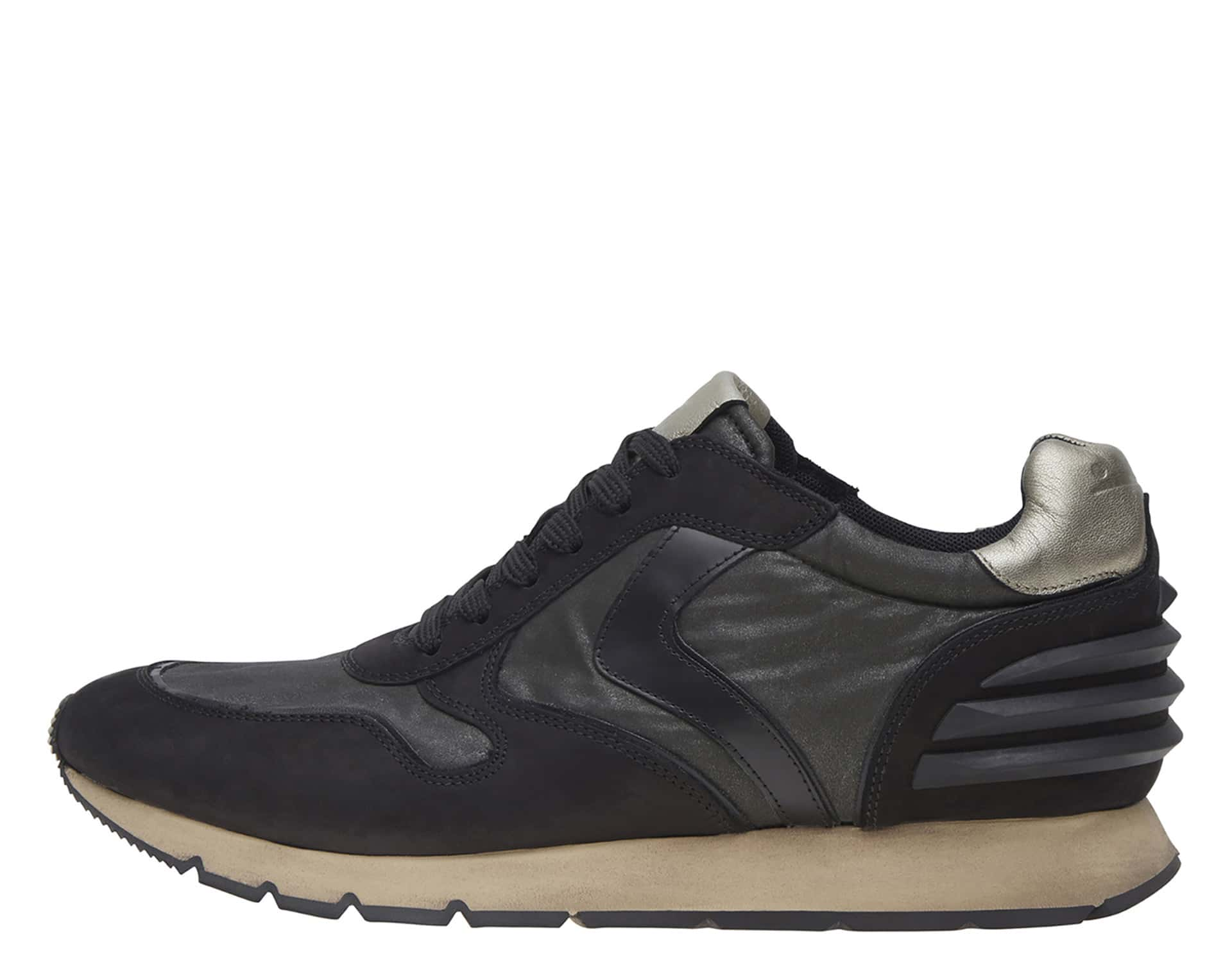 LIAM POWER - SNEAKERS IN PELLE E NYLON - NERO