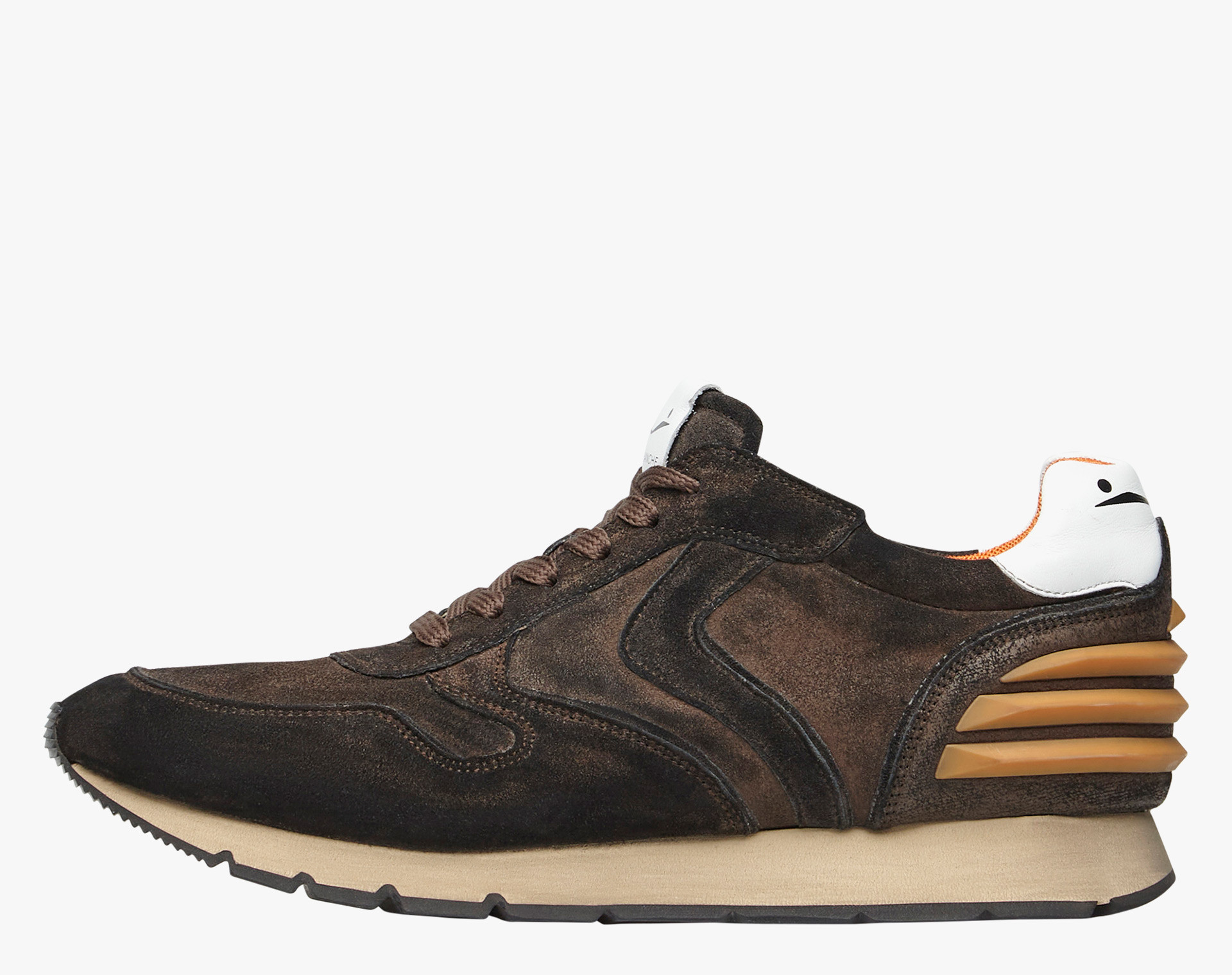 LIAM POWER - SNEAKERS IN PELLE - MARRONE/ARANCIONE