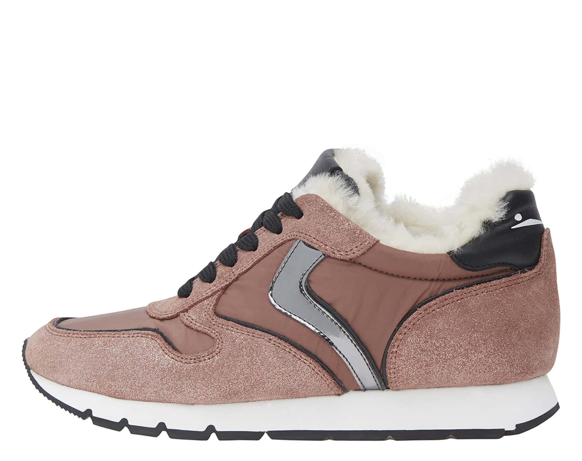 JULIA FUR - SNEAKERS IN VELOUR E NYLON - ROSA