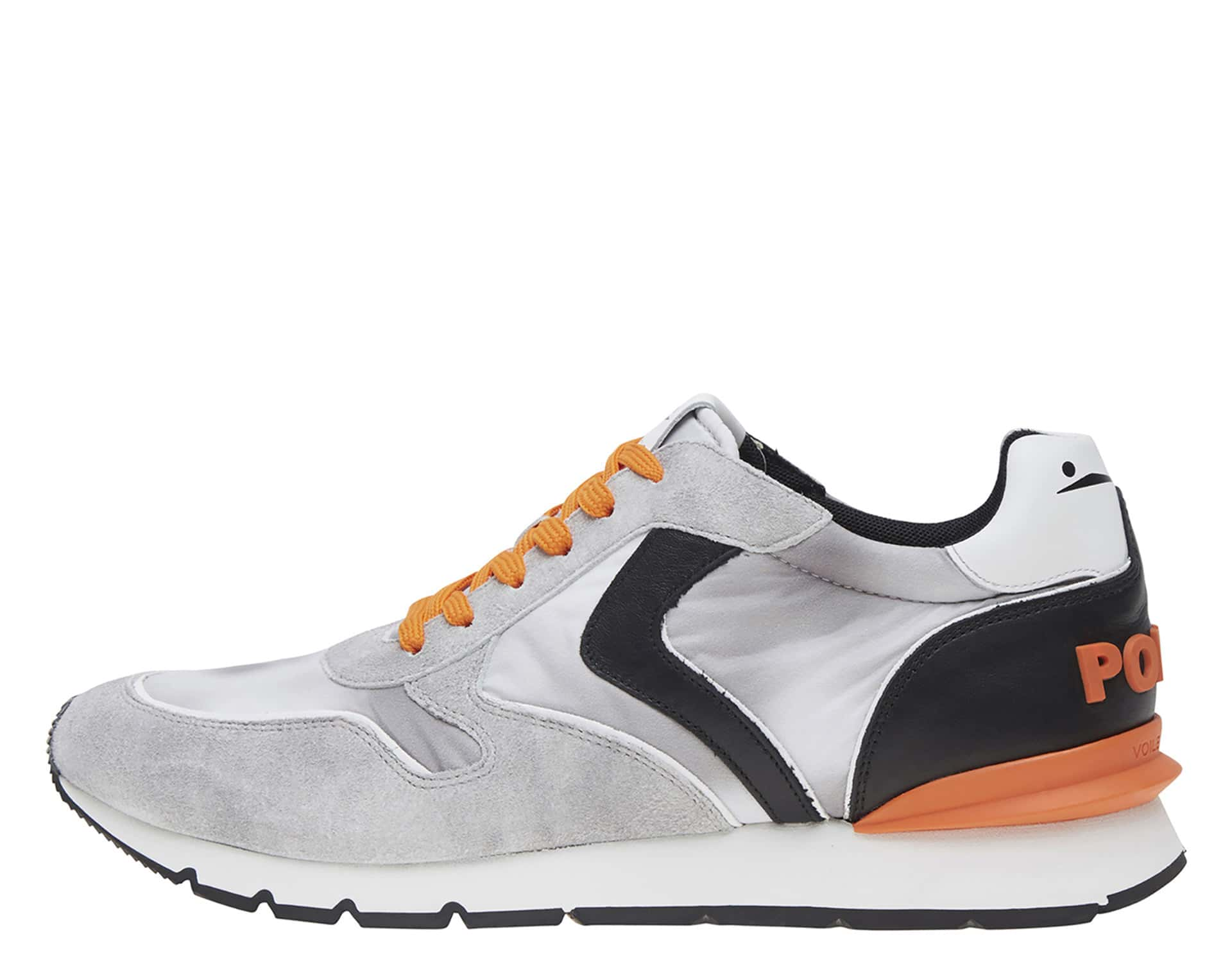 LIAM RACE POP - SNEAKERS IN PELLE E NYLON - ICE/GRIGIO/ARANCIO