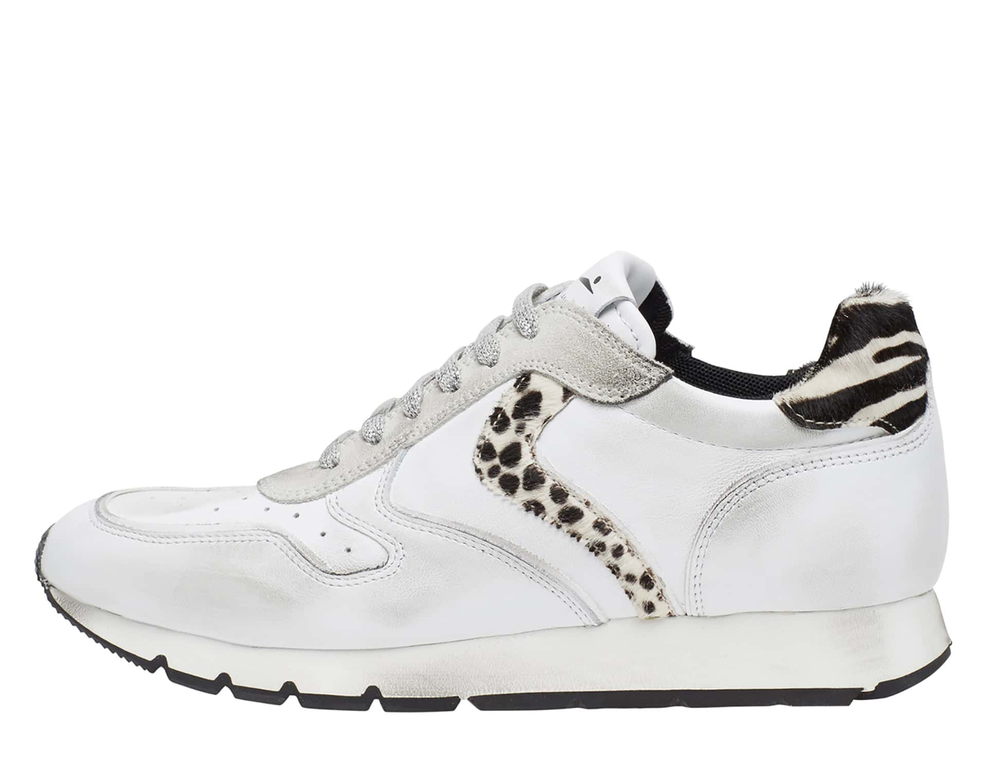 JULIA HOLES - Sneakers in pelle e cavallino - Bianco/Nero
